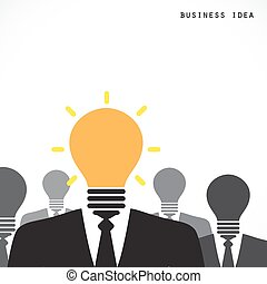 Creative light bulb with human head symbol, thinking about success solution