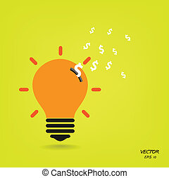 creative light bulb,saving sign,ideas concepts