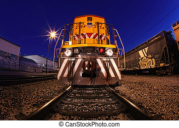 Creative lightpainted train on the tracks in Los Angeles, CA...