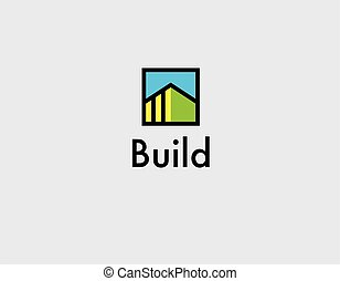 Creative linear logo icon of building for construction company