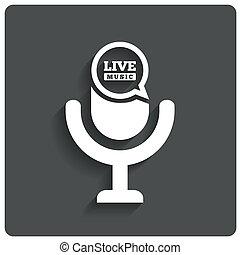 Creative Live music icon. Microphone symbol.