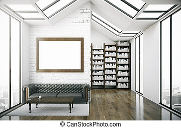 Creative loft library interior - Creative loft interior with...