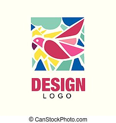 Creative logo design with pink tropical bird parrot . Abstract icon in rectangular shape. Colorful vector design for business card, environmental placard or print