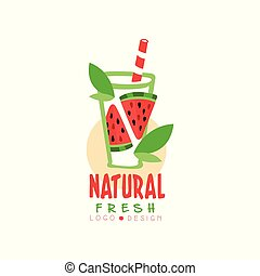Creative logo for natural drink from fresh watermelon. Glass of delicious fruit beverage. Organic smoothie. Hand drawn vector label for juice packaging