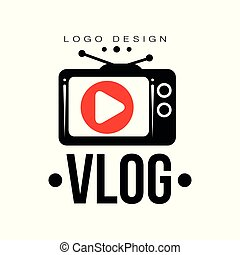 Creative logo for video vlog or channel. Emblem with red play button on retro TV screen. Trendy vector label with place for your text. Internet television