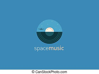 Creative logo, music disc and the moon