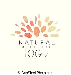 Creative logo design with abstract watercolor pattern. Natural or alternative medicine. Wellness concept. Holistic naturopathic center or yoga studio. Hand drawn vector illustration isolated on white.