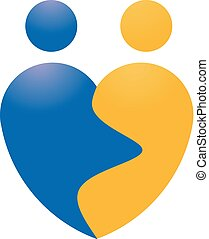 love couple shape logo