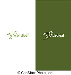 Creative luxury modern bird with green leaf logo template