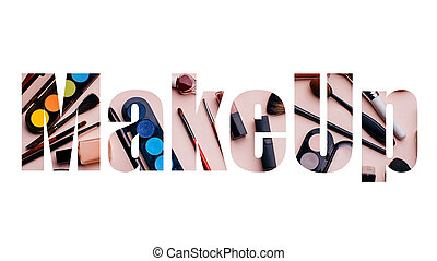 Creative Makeup text on white background. Set of women's cosmetics
