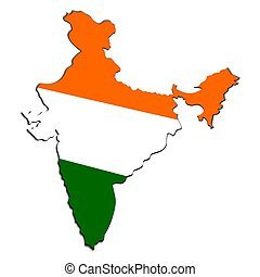 Creative map of India with national Indian tricolor flag. Design element with shadow. Template for background, banner, card, poster. Vector EPS10 illustration.