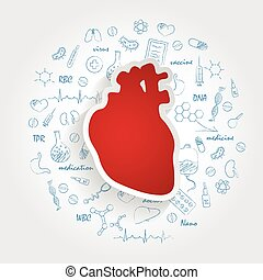 Creative Medical Care Background With Human Heart Anatomy....