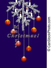 Creative Merry Christmas card. Vertical format.