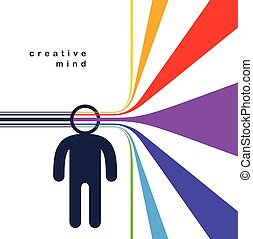 Creative mind brain vector concept in flat trendy design style, colorful rainbow stripes goes out of man head symbolizes creative ideas and thinking, artist designer or writer author.