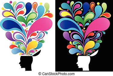 Concept illustration of a creative mind. The vibrant colors depict the versatility and the beauty of thoughts.