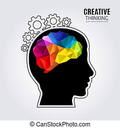 Creative mind. Concept of the human brain inside black head profile and one line forming cogwheels. Polygon style. Vector.