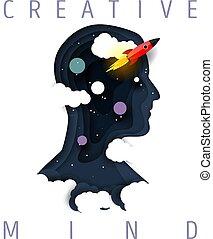 Creative mind concept vector paper cut illustration