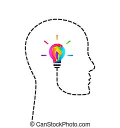 Creative mind concept with colorful light bulb