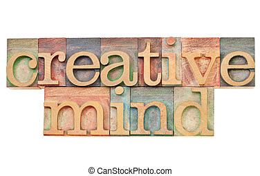 creative mind - isolated text in vintage wood letterpress ...