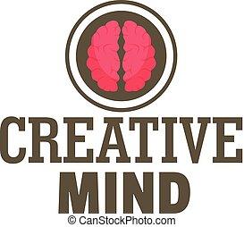 Creative mind logo, flat style