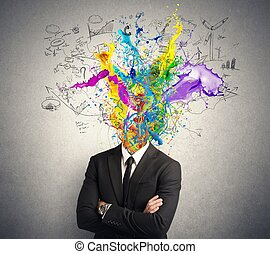 Creative mind - Concept of creative mind with colorful...