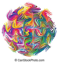 Symbol for creativity, spontaneity and innovation. Abstract vector image with 216 different bright and vivid colors