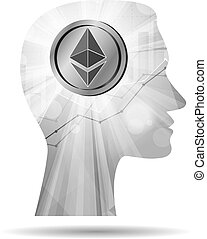 Creative mind thinking about of ethereum icon - Grey ...