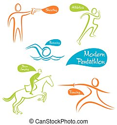 creative modern pentathlon design for five games like...