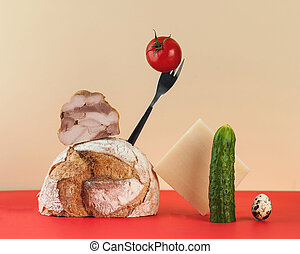 Creative modern still life of bread, ham, cheese and vegetables for a sandwich. The concept of food, breakfast.