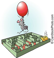 Creative mouse finds easy way to cheese cartoon illustration...