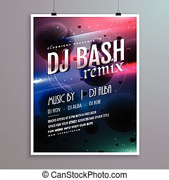 creative music flyer template with abstract background