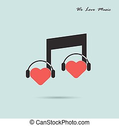 Creative music note sign icon and silhouette heart symbol ....