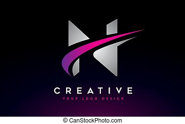 Creative N Letter Logo Design with Swoosh Icon Vector.