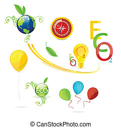 creative nature and eco symbols set