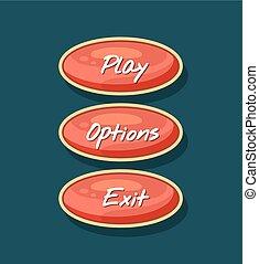 Creative navigation board for computer game menu. Play,...