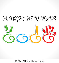 creative new year 2015 design by hand sign design vector