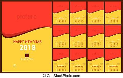 creative new year 2018 calendar template design