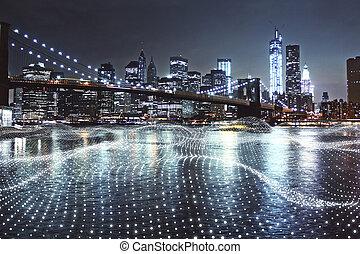Creative night city background