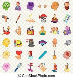 Creative occupation icons set, cartoon style