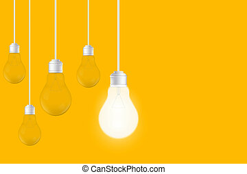 Creative of isolated light bulbs on yellow background. Art design illustration new ideas with innovation, creativity. Abstract concept graphic LED lightbulb element. Business leadership