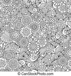 Creative ornamental full frame background made of kaleidoscope shapes and geometric floral designs
