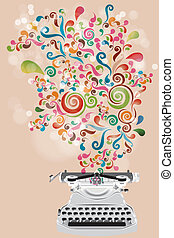 Retro design with typewriter and colorful swirls - vector eps10 illustration