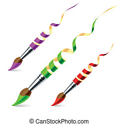Creative paintbrushes - Vector illustration of creative...