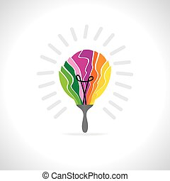 creative painting brush like bulb vector illustration