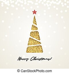 Creative paper Christmas tree, made of gold glitter sparkling particles on light background. Vector illustration.