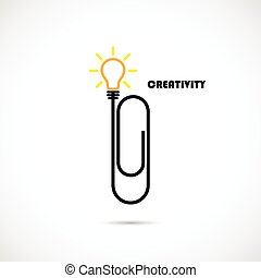 Creative paper clip and light bulb logo design. Concept of ...