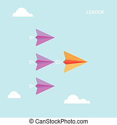Creative paper rocket sign and white cloud on blue sky. Business and leadership concept, teamwork sign.