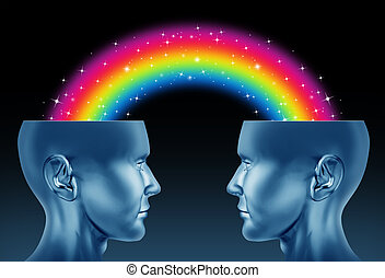 Creative partnership and imagination teamwork as a concept of brainstorming exchange between two creative people to find new innovative ideas for business and the arts with open human heads and a rainbow connection.