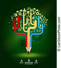 Creative pencil concept Growth Tree idea, Vector illustration Modern template Design / can be used for infographics / numbered banners / horizontal cutout lines / graphic or website layout vector