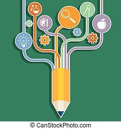 Creative pencil concept Growth Tree idea, Vector illustration Modern template Design